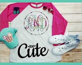 Monogram Raglan****Sublimation Shirt****Arrow Font with print pattern***Spring Shirt