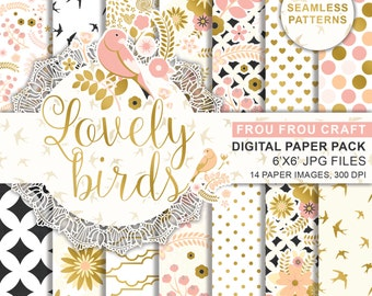 Pink and Gold Foil Birds Digital Printable Paper, Spring Digital Scrapbook Paper, Peach and Pink Birds Digital Paper, Pink Gold Flower Paper
