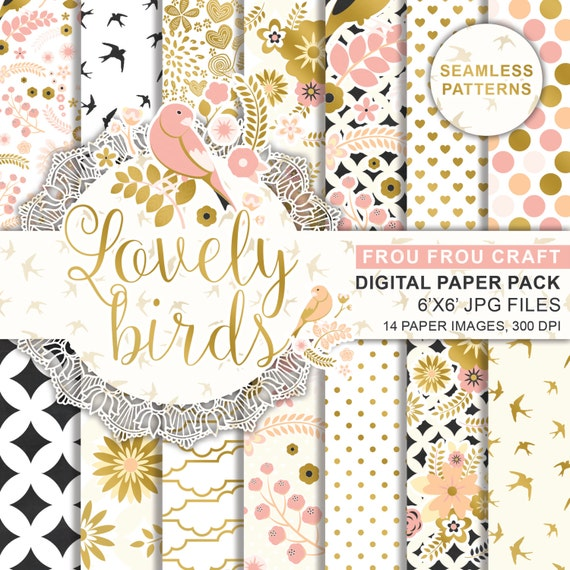 Pink And Gold Foil Birds Digital Printable Paper Spring Digital