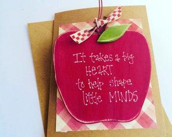 Teacher gift / thank you card / teacher thank you card / it takes a big heart / wooden decor / teacher christmas gifts / keepsake cards