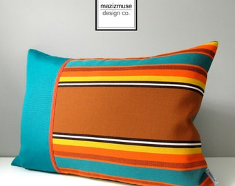 SALE - Retro OUTDOOR Pillow Cover, Modern Teal Striped Pillow Cover, Decorative Yellow Orange & Brown Stripes, Scout Sunbrella Cushion Cover