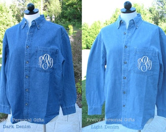 Denim Bride Shirt with Monogram for bride and bridal party on wedding day
