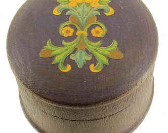 Vintage Wooden Trinket Box Florentine Paper Italian Purple Round Lovely