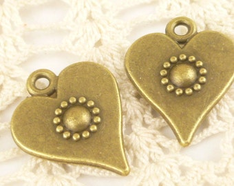 Rustic Hammered Look Heart Pendant Charm, Antique Bronze (6) - A40