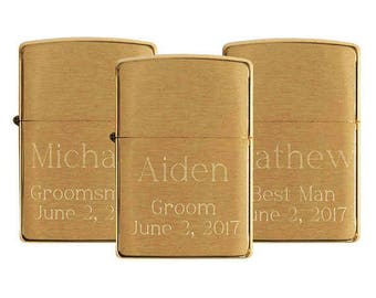 Set of 6 Personalized Zippo Lighters, Brushed Brass Zippo Lighter, Groomsmen Gift, Best Man Gift, Father of Bride Gift, Usher Gift Z204B