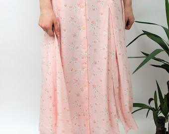 1990s Pastel Pink Floral Midi Skirt Size UK 10/12, US 6/8, EU 38/40