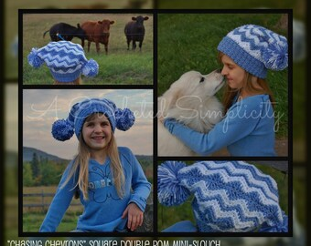 """Crochet Pattern: """"Chasing Chevrons"""" Square Double Pom Mini-Slouch, Newborn thry Adult, Permission to Sell Finished Items"""