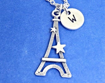 Paris France necklace, eiffel tower necklace, eiffel tower charm, french jewelry, personalized, monogram, initial,tour de France,custom gift