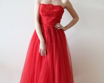 Vintage 1950s Red Tulle Party Dress with Sequin Details