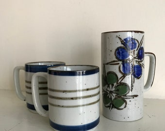 Set of 3 Vintage Mugs / 2 Striped Mugs 1 Floral