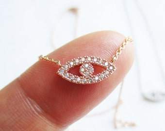 Evil eye necklace...Gold, Rose Gold or Silver evil eye necklace cubic zirconia---dainty handmade necklace, everyday, simple, birthday