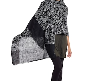 The Black Monochromatic Cashmere Scarf - Hand Woven and Hand Embroidered