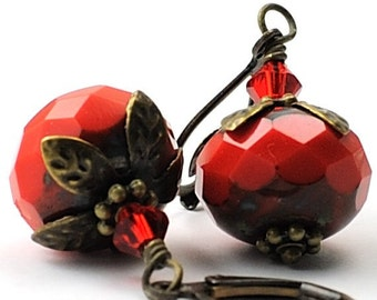 Red Earrings Glass Jewelry Opaque Red Glass Earrings, Czech Glass with Swarovski Crystals and Antiqued Brass, Vintage Inspired Handcrafted