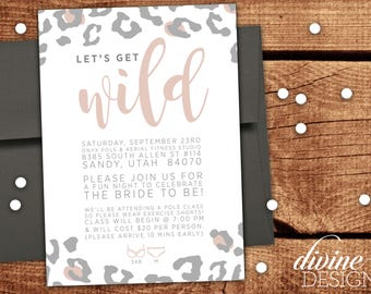 Custom Bachelorette Party Invites - 5x7 in - 2 Color Options! Cheetah Design - Let's Get Wild!