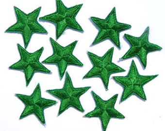 Green star patches > applique > Pack of 3 or 10 > Iron-on or sew-on > very pretty!