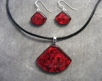 Red Dichroic Fan Shaped Pendant & Earring Set