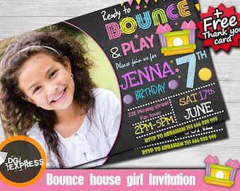 "Bounce House Invitation photo - ""BOUNCE HOUSE BIRTHDAY Invitation"" Jump Party, Girl Boy Digital Jumping Castle Invite, Birthday Printable"