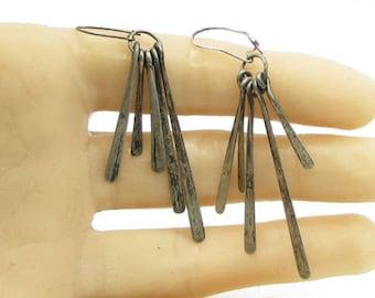 Vintage 925 sterling silver - multi dangle sticks hoop drop earrings - e1062