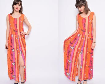 Vintage 90's Butterfly Print Maxi Dress / Sheer Orange Button Dress / Multi color Maxi Sundress - Size Medium