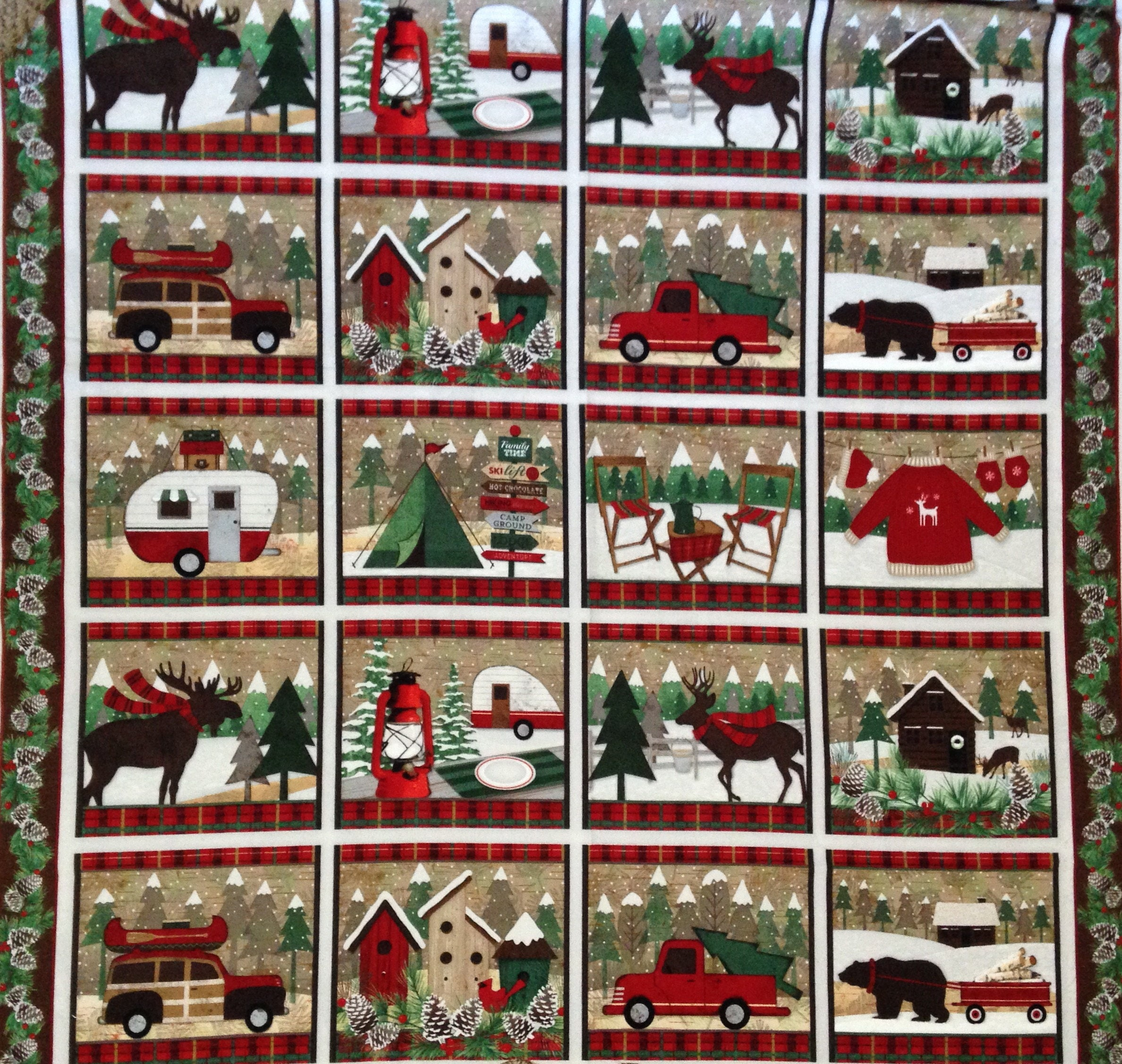 Camping Wilderness Winter Woodland Retreat Flannel Panel