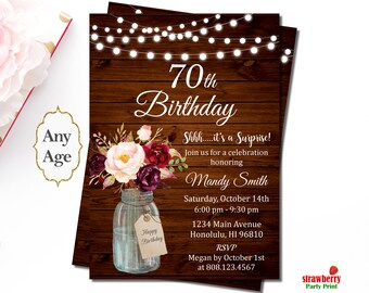 70th Birthday Invitation for Women, Surprise Birthday Party Invitation, Rustic Birthday Invitation, Mason Jar Floral, A48