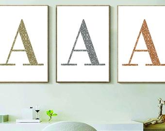 Glitter Initial Print - A4