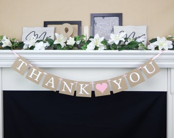 Thank you banner, rustic wedding banner, thank you sign, wedding decor, wedding photo prop, thank you wedding sign, wedding decoration