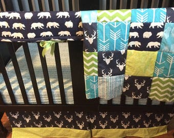 Made to Order Baby Bedding in lime green, navy and turquoise with a woodland theme that includes bears, deer and trees