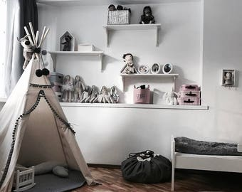Childrens teepee, childrens teepee tent with grey pompoms, teepee, tipi tent for kids, children indoor playhause, 5 pole teepee tent, tepee