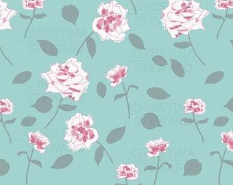Floral Digital Paper, Pink and Teal Digital Paper, Pattern Paper, Printable Paper, Scrapbook Paper, Digital Paper, Instant Download