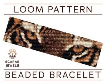 Tiger Eyes Pattern | Loom Beading Bracelet | Cuff Bead Pattern | Miyuki Delica | PDF Instant Download