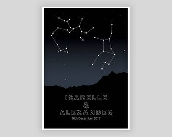 Personalised Couple Star Sign Constellation Digital Print, Custom Star Sign, Personalised Wedding Gift, Couple Star Sign | Digital Print