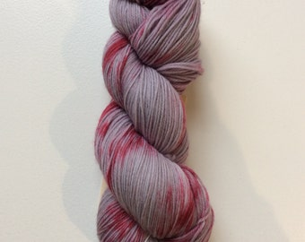 Scarlet and Grey- Worsted weight yarn - 100% superwash merino hand dyed
