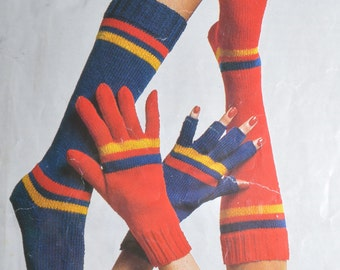 PDF socks with toes socks mittens mitts gloves vintage knitting pattern pdf INSTANT downloadpattern only pdf 1970s