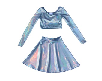 HOLOGRAPHIC Twosie Long Sleeve Crop and High Waist Circle Skirt Twin Set, Matching Set, Hologram, Holographic