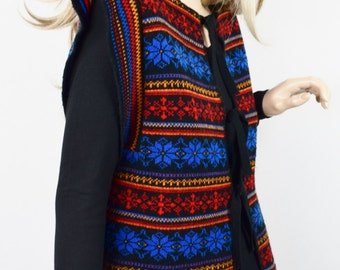 Vintage 1970's Women's Nordic Snowflake STriPeD HiPPiE Aztec Cardigan Knit Sweater M