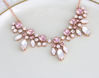 Rose gold Necklace, Bridal jewelry, Bridal necklace, Blush crystal necklace, Swarovski necklace, Wedding jewelry, White opal, Vintage style