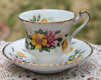 "Paragon Fine Bone China Teacup and Saucer ""Wild Roses"""