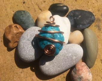 Copper Wire Wrapped Turquoise Stone