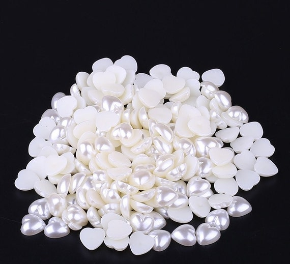 Cream Ivory Flat Back Heart Resin Pearls Wedding Craft Embellishments C14