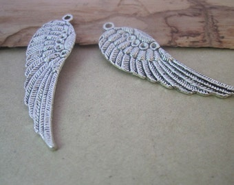 10pcs of  antique silver wings Charms PENDANT 17mmx52mm