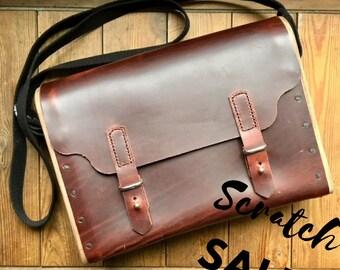 Leather Wood Messenger Bag, Unique Shoulder Bag, Mahogany Walnut, Satchel Cross Body Purse, Sturdy Handbag, ON SALE Handmade in America