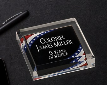 Personalized Acrylic Paper Weight with Patriotic Corners, Corporate Office Gifts, Promotion Gifts