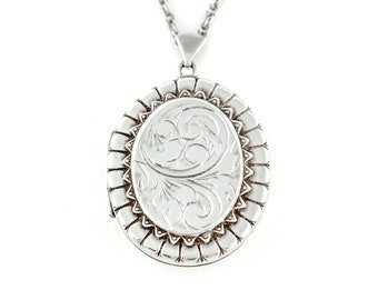 Embossed Victorian Revival Silver Locket c.1979