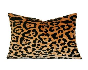 Leopard Velvet Lumbar Designer Pillow Cover - Custom Made-to-Order