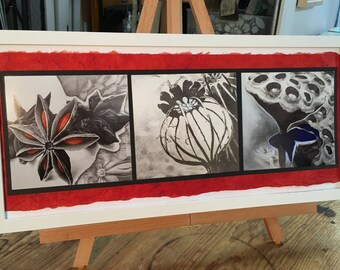 19x9, Anise, Poppy, and Lotus, framed, Photographs of original paintings by Katherine Baronet