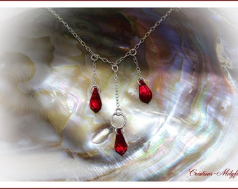 Silver and Red Swarovski Crystal Necklace