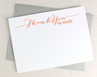Letterpress Thank you card set, thank you flat cards in messy calligraphy