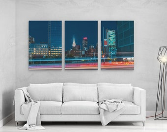 Street of Manhattan at Night - panels art canvas print wall home decor interior design