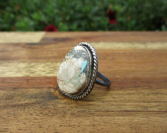 Royston Ribbon Turquoise Ring / Sterling Silver Ring Size 8.5 / Boulder Turquoise Ring / Royston Ring / Royston Ribbon Turquoise